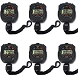 Pgzsy 6 Pack Multi-Function Electronic Digital Sport Stopwatch Timer, Large Display with Date Time and Alarm Function…