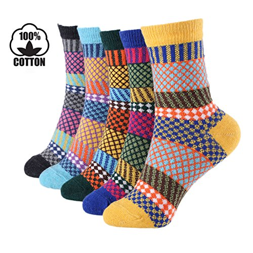 Moonice Christmas Lovely Gift 5 Pairs Winter Warm Cotton Ladies Women Knitting Pure Cashmere Floor Sock Bed Socks