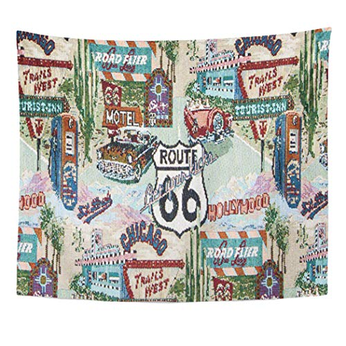 Semtomn Tapestry Artwork Wall Hanging Patterns 104 Nostalgic Retro Route 66 Fabrics Designs Novelty 50x60 Inches Home Decor Tapestries Mattress Tablecloth Curtain Print ()