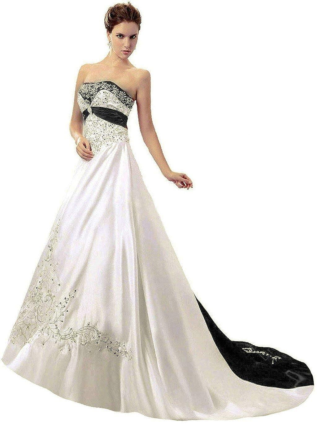 Ivory & Black Vantexi Women's Satin Embroidery Wedding Dress Bridal Gown