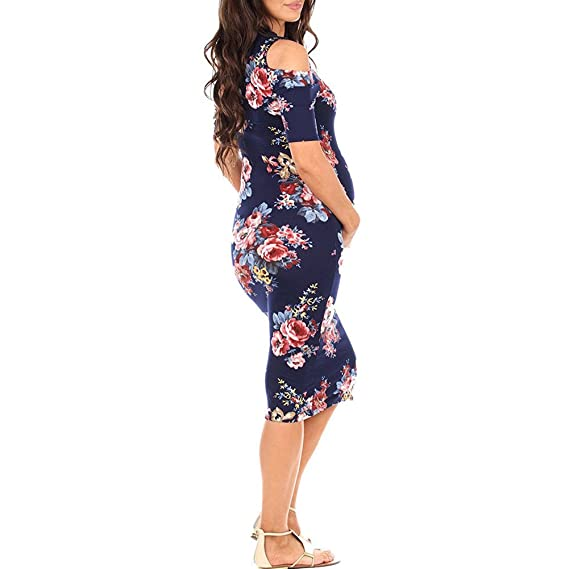 Lanlan Las mujeres embarazadas con estilo fuera del hombro vestido de la flor de impresión de cuello redondo desgaste de la playa, : Amazon.es: Ropa y ...
