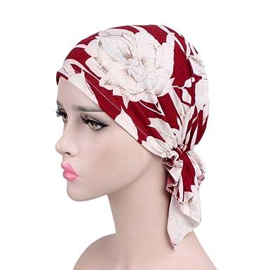 iShine Femme Turban avec Impression Bonnet Elastique Chapeau Musulman Hijab  Chimio Chemo Casquette Coiffure Islamique Bouchon ... 6f60814c7ba