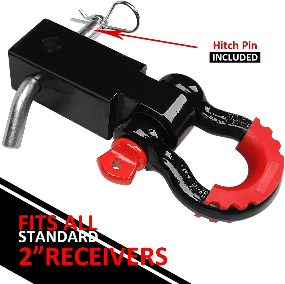 Towing Accessories for Trucks Jeeps LIBERRWAY Shackle Hitch Receiver 2 inch 41918 Lbs Break Strength Never Rust Receiver Shackle Bracket Heavy Duty and Solid with 3//4 D Ring Shackle