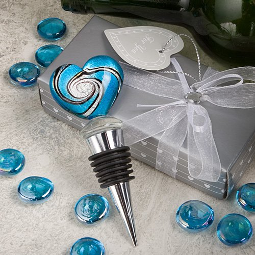 40 Fashioncraft Silver Metal Murano Heart Wine Bottle Stopper Wedding Bridal Shower Favors