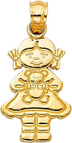 14k Yellow Gold Girl with Doll Pendant Charm