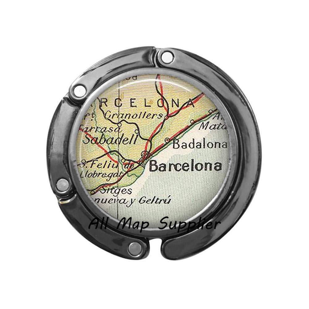 Charming Purse Hook Barcelona map Bag Hook,Barcelona Purse Hook,Barcelona,Spain map Jewelry,Barcelona Bag Hook,A0060 1
