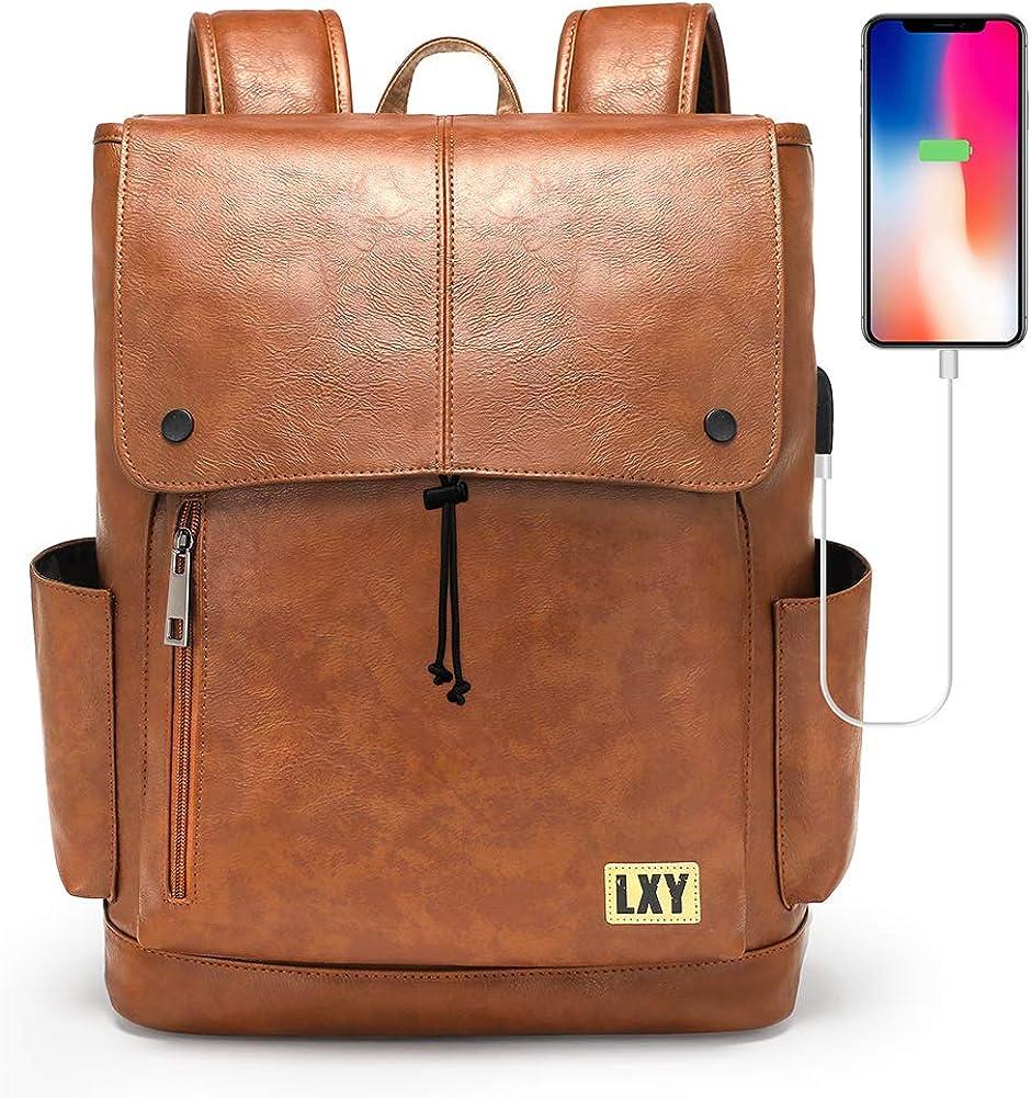 Vintage Leather Backpack For Women Men Laptop Backpack USB Charging Port