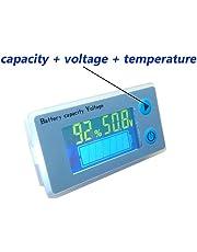 Voltímetro LCD Medidor de capacidad para batería de plomo ácido multifunción con indicador de temperatura de