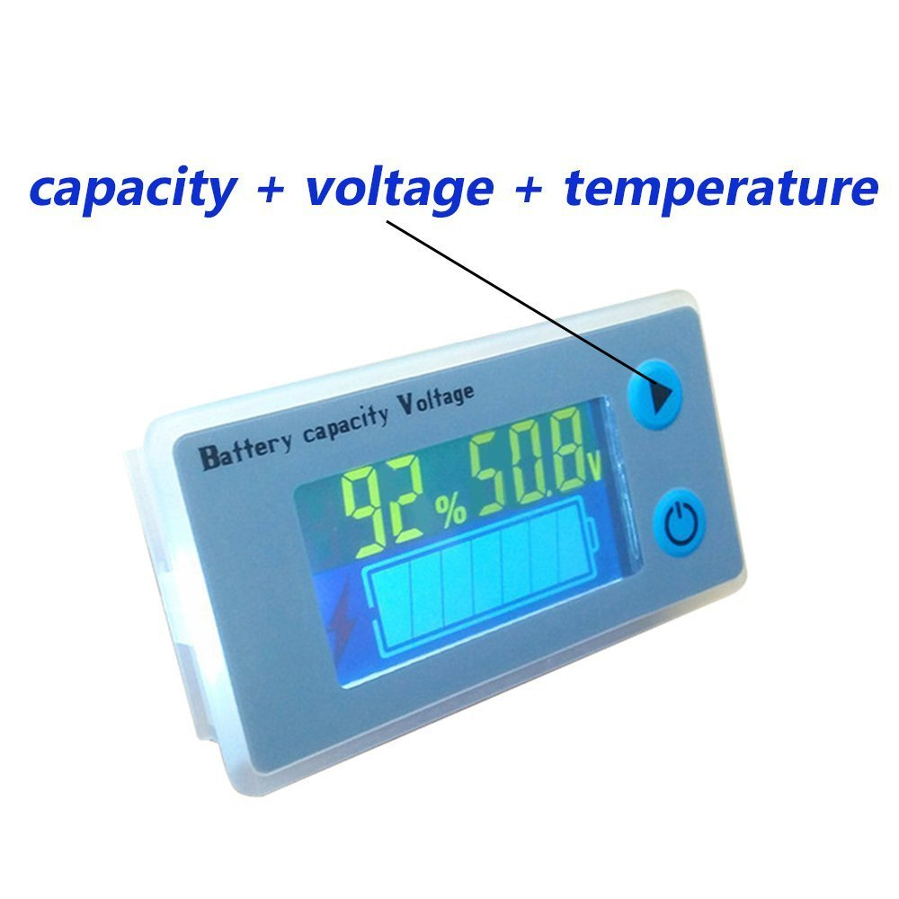 48V Multifunction LCD Lead Acid Battery Capacity Meter Voltmeter with Temperature Display Battery Fuel Gauge Indicator Voltage Monitor