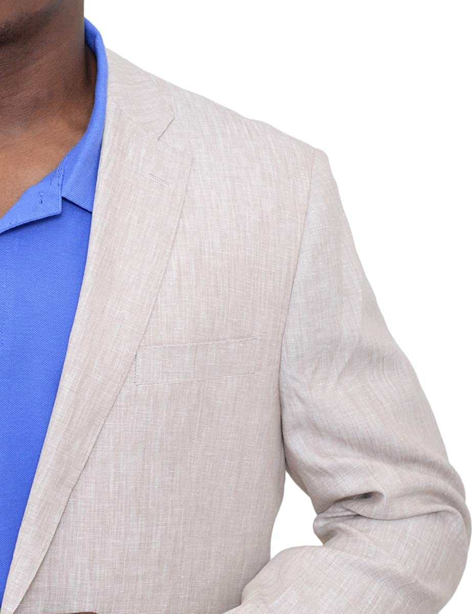 Modern Fit Solid Biege Half Lined Linen Blazer Sportcoat with Patch Pockets
