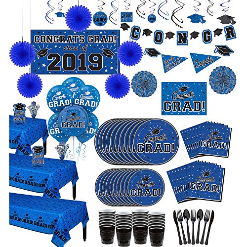 (Party City Super Congrats Grad Blue Graduation Party Kit for 54 Guests, Includes Tableware, Balloons, and)