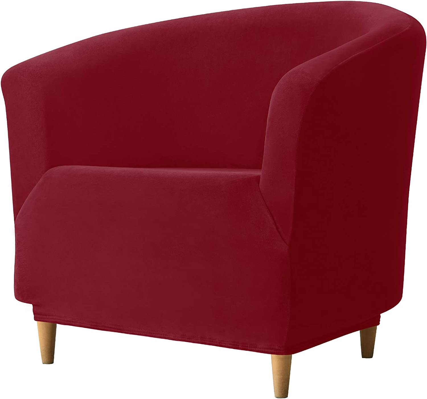 REECOTEX Velvet Club Chair Slipcover, Soft Stretch Tub Chair Cover for Living Room and Bedroom, Washable and Removable Armchair Protector, Furniture Protector for Home Decor,Burgundy