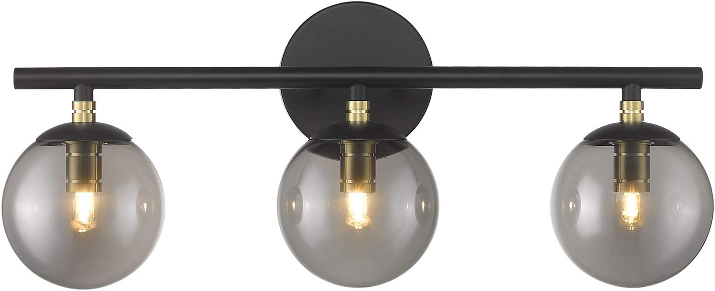 LMS Bathroom Vanity Light, 3-Light Bathroom Light Fixtures 20.5 Inch, Black and Brass Gold Finish with Globe Glass Shade, LMS-078