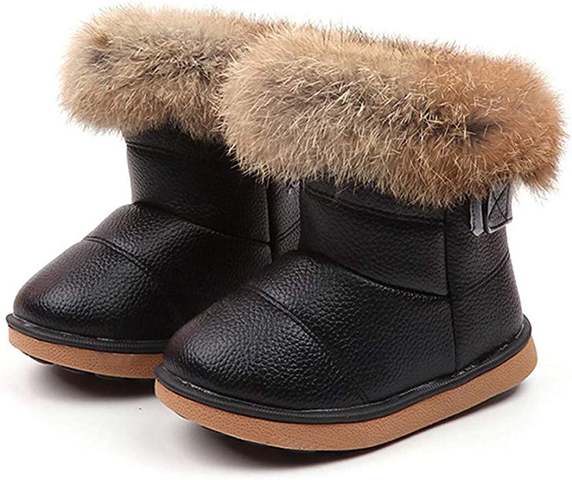 e5f8a31028b0 Amazon.com  ❤ Mealeaf ❤ Toddler Kids Baby Boys Girls Snow Shoes Boots  Leather Winter Booties Warm Walking Soft Slippers 0-6T  Clothing