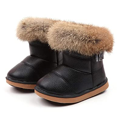 f8223109 Yamally 12M-6Years Toddler Girls Boots Leather Fur Lined Winter Boots  Shoes(Toddler/