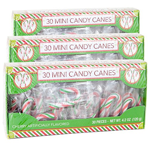 Candy Cane Cherry Flavored | 30 Mini Candy Canes in Each Box - Net 4.2 Oz Pack of 3 - 90 Total Count | Individually Wrapped (Mini Candy Cane) -