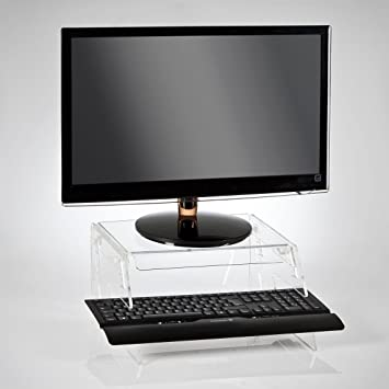 Height Adjustable Monitor Stand With Keyboard Tray   Clear