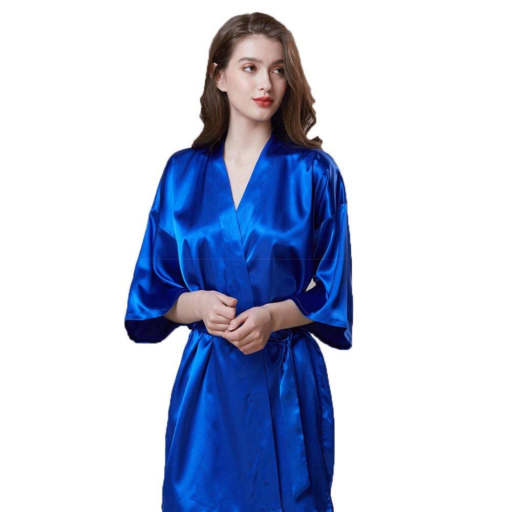 Forall-Ms Batas De Seda para Mujer, Traje De Dama De Honor Kimono Bata De Embarazo Vestido De Noche Extra Largo Vestido De Noche Corto para La Boda,Red-XL: ...