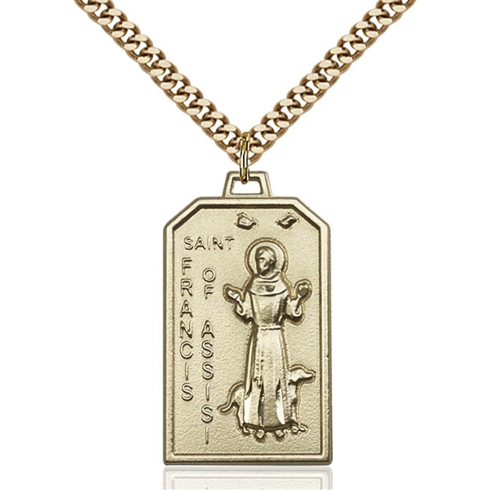 Gold Filled St. Francis Pendant 1 1/8 x 5/8 inches with Heavy Curb Chain