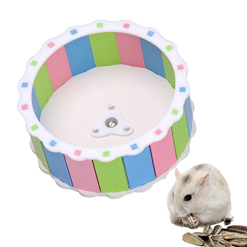 Towerin Silent Spinner Exercise Running Wheel Comfort Colorful Running Wheel Toy for Hamster Mouse Free Standing and Attach Directly Training Cage Accessory