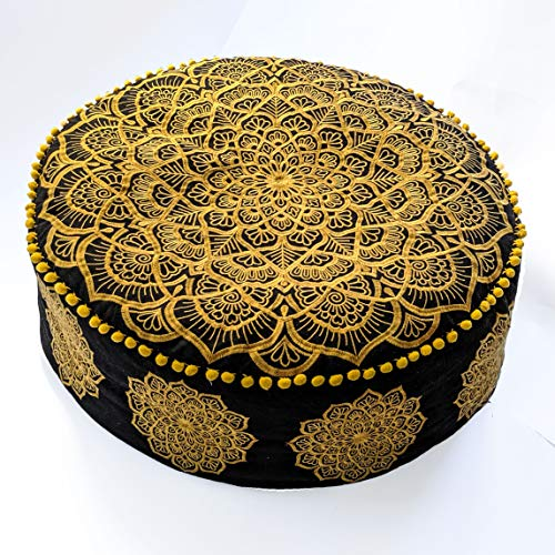 Mandala Life ART Bohemian Pouf Ottoman -Stuffed - Luxury, Artisan Room Décor Pouffe for Meditation, Yoga, and Boho Chic Seating Area Stool Floor Pillow - Accent Your Living Room, Bedroom