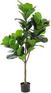 Realead 4.3ft Artificial Plant Fiddle Leaf Fig Tree Fake Tree in Pot Natural Faux Tree with 66 Leaves Ficus Lyrata Greenery Plant Indoor Outdoor Decor for House Home Office Perfect Housewarming Gift