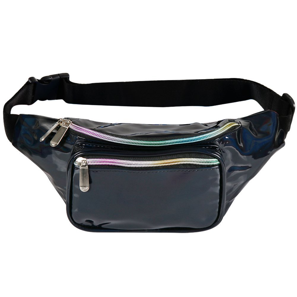 Fotociti Holographic Fanny Pack- Fashion Rave Waist Bag with Adjustable Belt for Women and Men by Fotociti