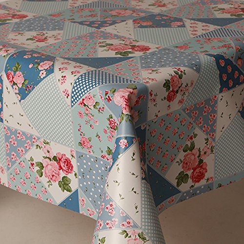 137cms x 200cms blue patchwork vintage traditional print pink roses polkadot prints pvc plastic table cloth protector oil / vinyl cloth 2 metre floral print blue white pink green all occasions table ware David Mather