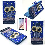 S6 Edge Case, JCmax Owl Pattern [Wallet Feature] Top Grade PU Leather Cover With Folio Flip Stand Feature For Samsung Galaxy S6 Edge (1 x screen protector 1 x stylus pen)-Blue-Owl