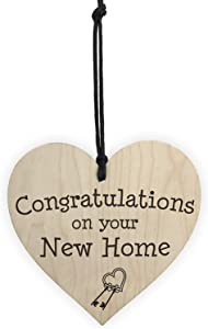 XLD Store Congratulations On Your New Home Wooden Hanging Heart Plaque Moving in Present