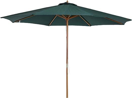 Outsunny Sombrilla Parasol Verde mástil de Madera Terraza Playa ...