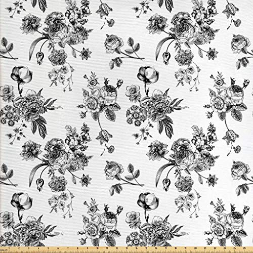 Ambesonne Black and White Fabric by The Yard, Vintage Floral Pattern Victorian Classic Royal Inspired New Modern Art, Decorative Fabric for Upholstery and Home Accents, 1 Yard, Black and White (Fabric Victorian)