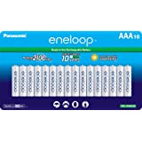 Panasonic BK-4MCCA16FA eneloop AAA 2100 Cycle Ni-MH Pre-Charged Rechargeable Batteries, 16 Pack