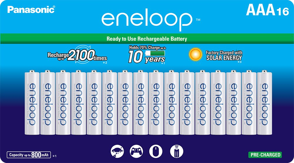 Panasonic BK-3MCCA8BA eneloop AA 2100 Cycle Ni-MH Pre-Charged Rechargeable Batteries 8 Pack