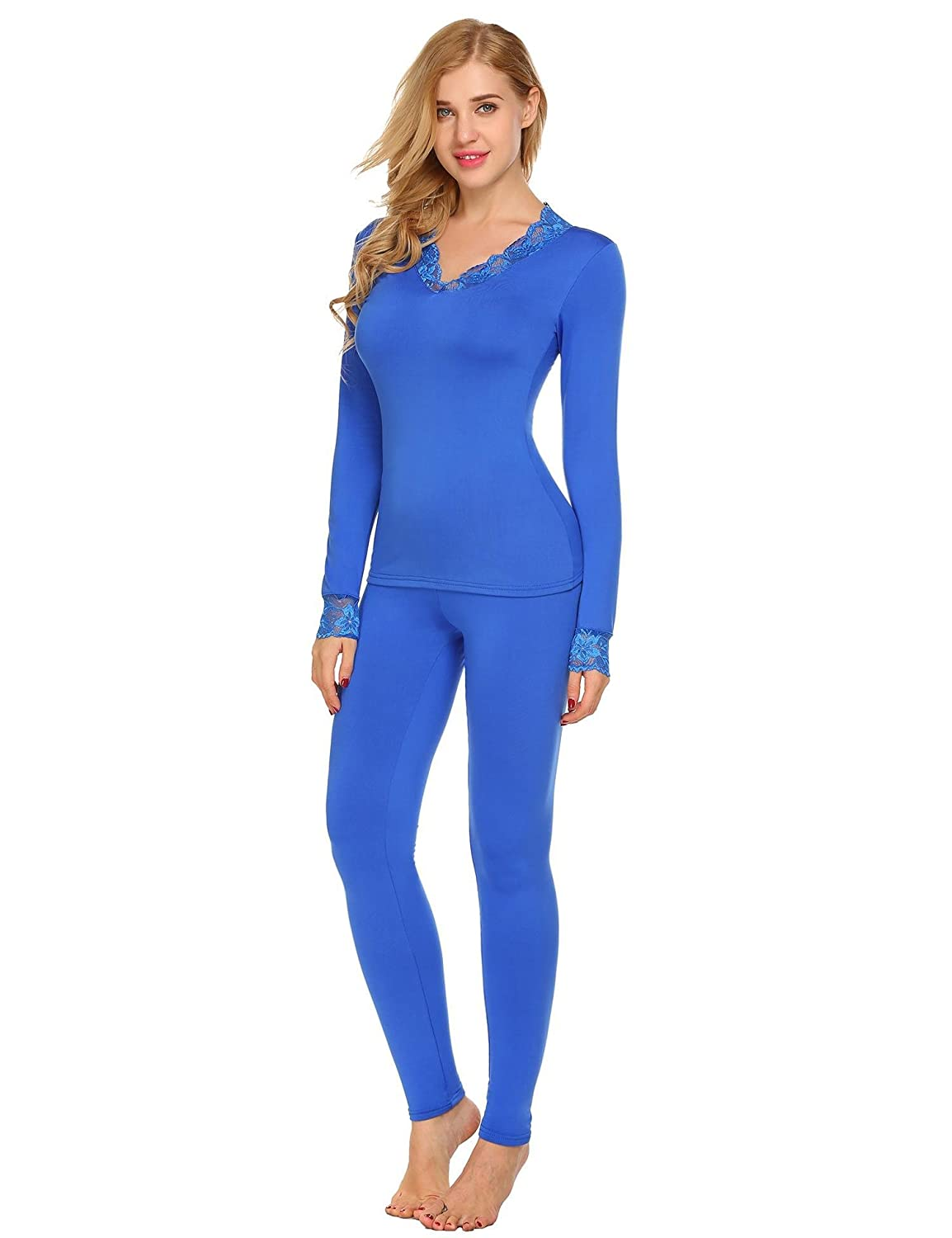 Goldenfox Women Thermal Underwear Sets Long-Sleeve Lace Patchwork Top with Pants S-XXL