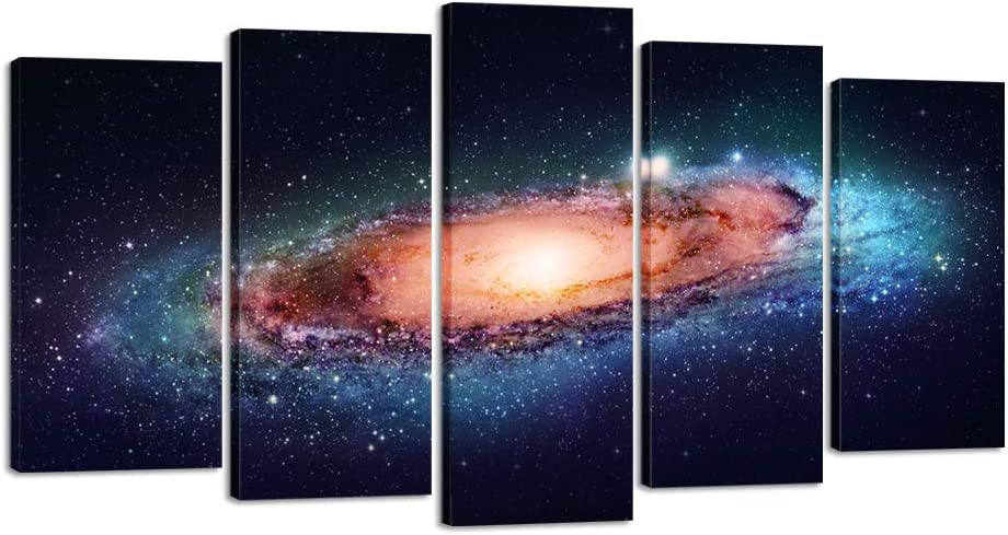 Creative Art- Modern Giclee Canvas Print Artwork Universe 5 Panels Splendid Planetary Nebula Space Picture Printed on Canvas Wall Art for Home office Wall Decor 5pcs/set