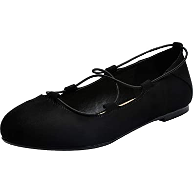 d7f0aa75d0fde Women's Wide Width Flat Shoes - Comfortable Lace up Round Toe Ballet Flats.  (181007