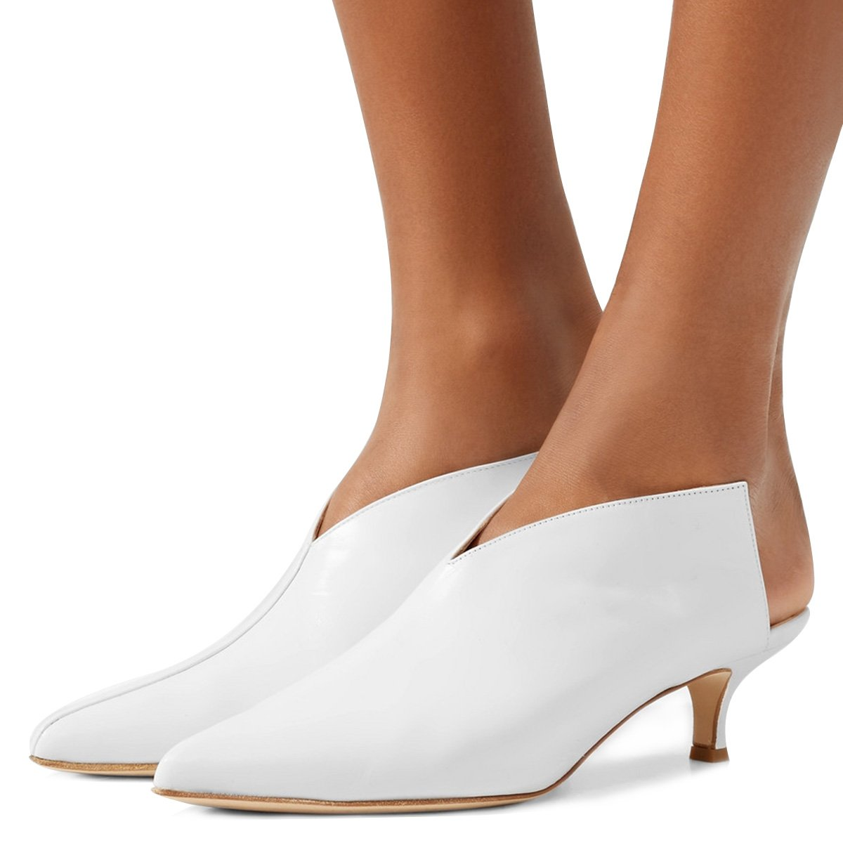XYD Women Pointed Toe Kitten Mules Low Heels Slip On Pumps Slide Sandals Clog Shoes Ivory 10