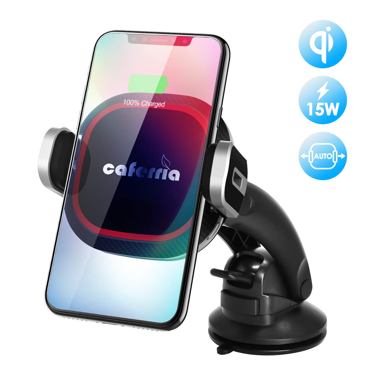 S8 Caferria Wireless Car Charger Mount 15W Fast Charging Qi Charger with Infrared Auto Clamping Windshield Dashboard Air Vent Phone Holder for iPhone X XR Xs Max 8 Plus Samsung Note 9//8 S9 Edge S7