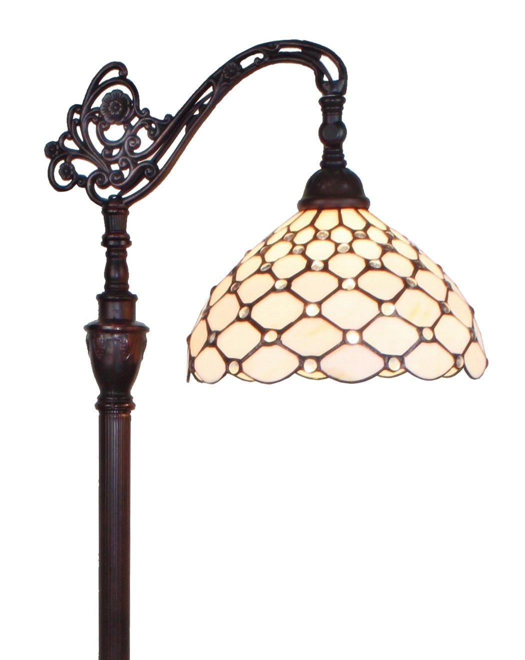 Amora Lighting AM028FL12 Tiffany Style Jeweled Reading Floor Lamp, 62' X 12'