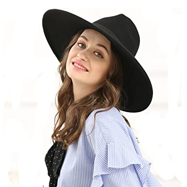 1468e9b82ee42 OSTAYLER Large Stiff Brim Wool Fedora Hat For Women Winter Warm Flat Jazz  Hat Caps (Black) at Amazon Women s Clothing store
