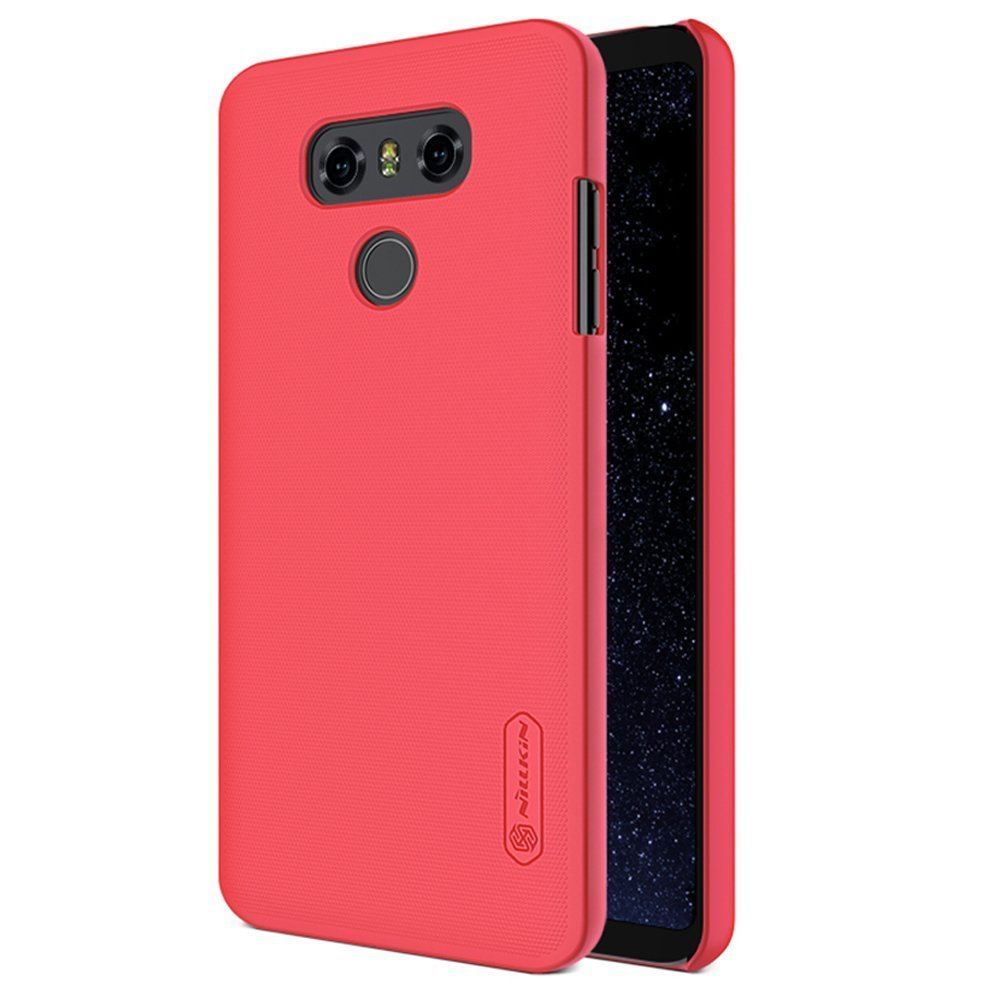 save off 03fe1 013a6 For LG G6 Case,Nillkin [With Screen Protector] Slim Shield Anti  fingerprints Hard PC Case Back Cover for LG G6 2017-Retail Package (Red)