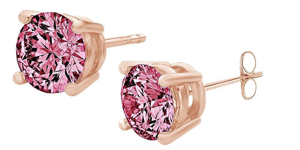 Runde Ohrstecker, Ring mit rosa Saphir, 14Karat 585Weißgold AFFY UK-M-CME8325-YG