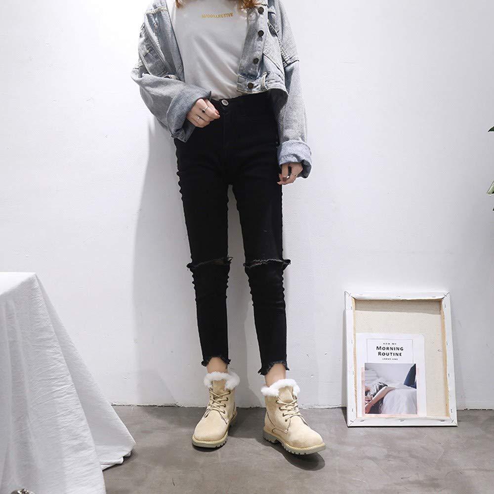 Tefamore Botines Mujer Cordones Calientes Invierno Zapatos Nieve Piel Forradas Ankle Botas de La Nieve del Botas de Mujer: Amazon.es: Zapatos y complementos