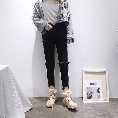 Mymyguoe Zapatos de Invierno Mujer,Mujeres Botines Cortos con Cordones Black Friday Botas Felpa Forrado Ankle Boots Estilo BritáNico Zapatos Tacon bajo ...