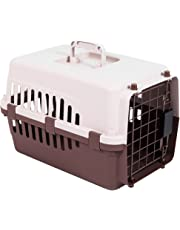 Home Discount Pet Carrier, Animal Cage Cat Dog Transport Box Spring Lock Door, White & Brown