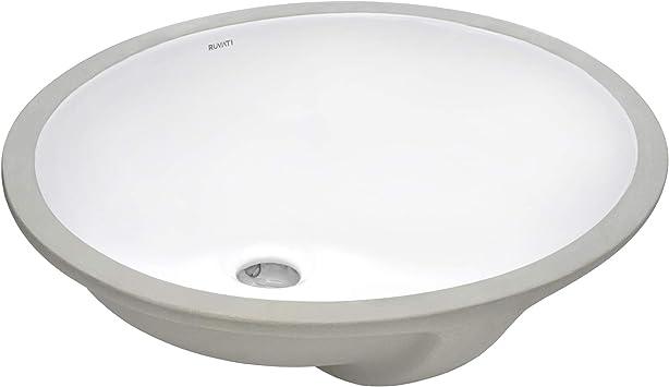 Ruvati 19 X 16 Inch Undermount Bathroom Vanity Sink White Oval Porcelain Ceramic With Overflow Rvb0619 Amazon Com