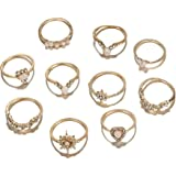 ZZ ZINFANDEL 9-16 PCS Joint Midi Knuckle Stacking Ring for Women Girls,Bohemian Crystal Gem Finger Rings Sets Fit Size 5 to 9
