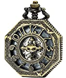 SEWOR Octagon Skeleton Pocket Watch Halloween Style Steampunk Mechanical Hand Wind (Bronze Bat)