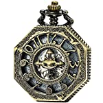 SEWOR Octagon Skeleton Pocket Watch with Chain, Halloween Style Steampunk Mechanical Hand Wind 12
